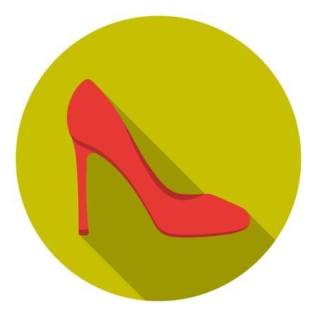 Stiletto icoon in vlakke stijl op een witte achtergrond. Schoenen symbool vector illustratie.