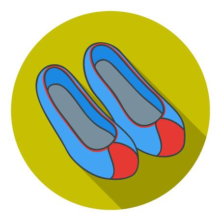 korean traditional: Korean traditional shoes icon in flat style isolated on white background. South Korea symbol vector illustration.