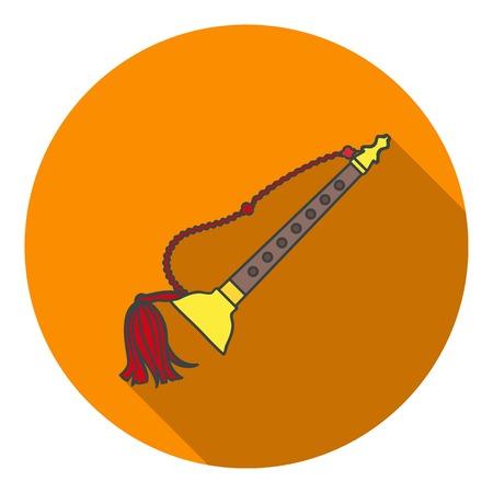 double reed: Taepyeongso icon in flat style isolated on white background. South Korea symbol vector illustration.