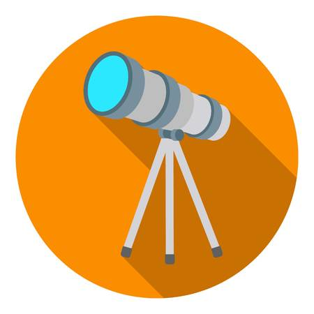 Telescope icon in flat style isolated on white background. Space symbol vector illustration.