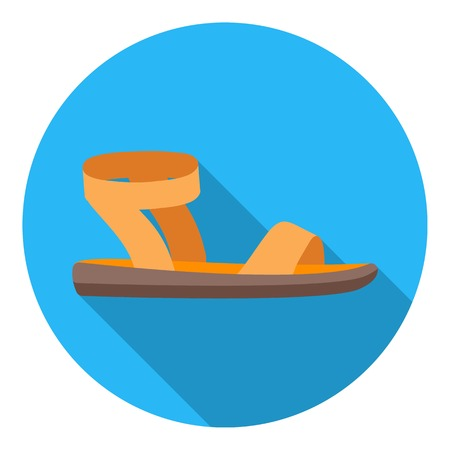 woman sandals: Woman sandals icon in flat style isolated on white background. Shoes symbol vector illustration.