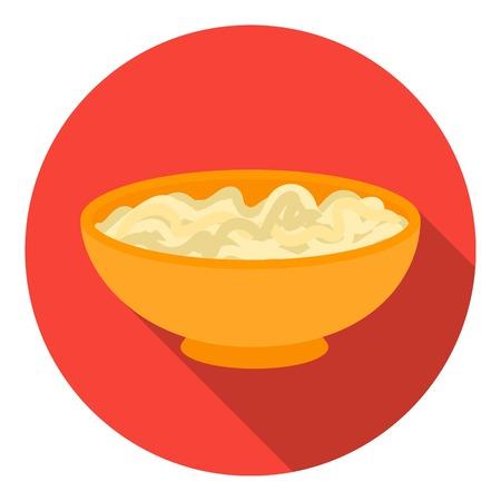 Udon icon in flat style isolated on white background. Sushi symbol vector illustration.