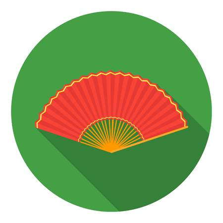 cartoom: Folding fan icon in flat style isolated on white background. Theater symbol vector illustration