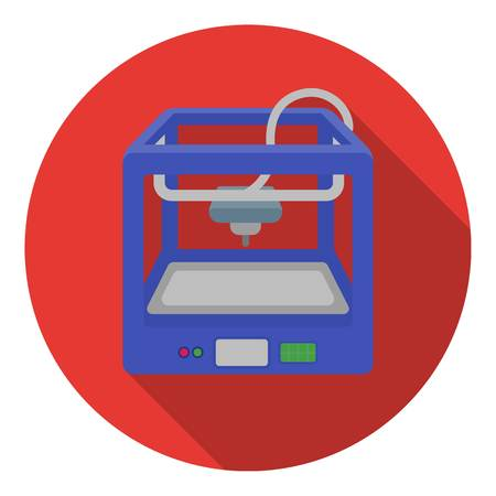 3d printer: 3D Printer in flat style isolated on white background. Typography symbol vector illustration.