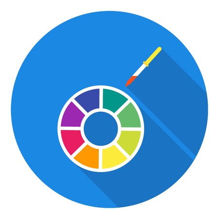 Color wheel icon in flat style isolated on white background. Typography symbol vector illustration.