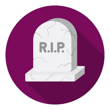 christian halloween: Headstone icon in flat style isolated on white background. Black and white magic symbol vector illustration.