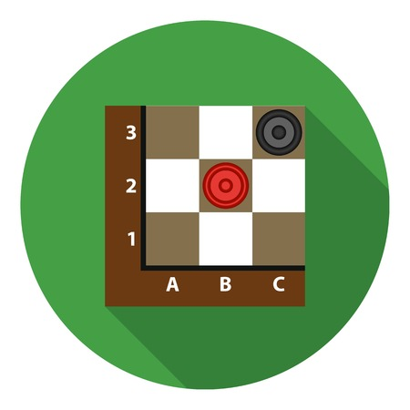 opponent: Checkers icon in flat style isolated on white background. Board games symbol vector illustration.