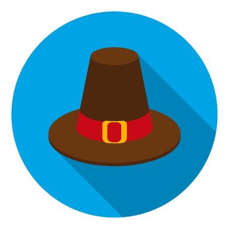 pilgrim hat: Pilgrim hat icon in flat style isolated on white background. Canadian Thanksgiving Day symbol vector illustration. Illustration