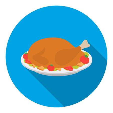 thanksgiving day symbol: Roasted turkey icon in flat style isolated on white background. Canadian Thanksgiving Day symbol vector illustration.