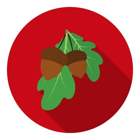 thanksgiving day symbol: Acorns icon in flat style isolated on white background. Canadian Thanksgiving Day symbol vector illustration.