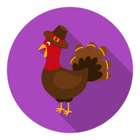 thanksgiving day symbol: Turkey icon in flat style isolated on white background. Canadian Thanksgiving Day symbol vector illustration.