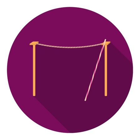 rope walker: Tightrope icon in flat style isolated on white background. Circus symbol vector illustration.