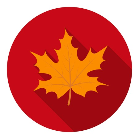 thanksgiving day symbol: Maple leaf icon in flat style isolated on white background. Canadian Thanksgiving Day symbol vector illustration. Vettoriali