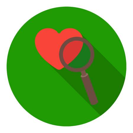 affection: Searching a love icon in flat style isolated on white background. E-commerce symbol vector illustration.