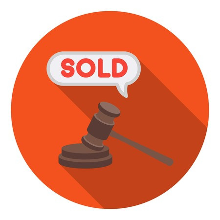 auctioneer: Auction hammer icon in flat style isolated on white background. E-commerce symbol vector illustration.