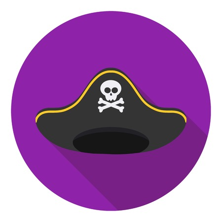 tricorne: Pirate hat icon in flat style isolated on white background. Hats symbol vector illustration.