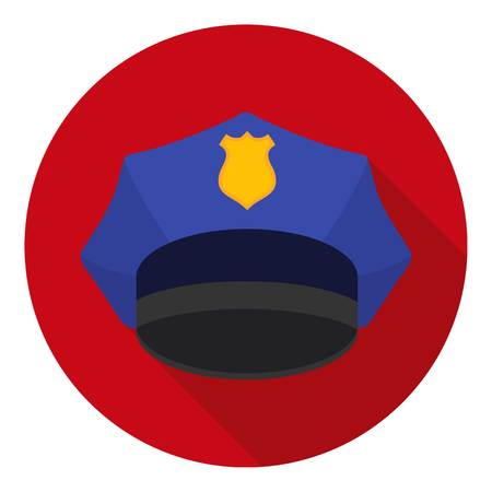 gorra policía: Police cap icon in flat style isolated on white background. Hats symbol vector illustration.
