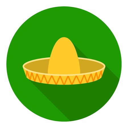 Sombrero icon in flat style isolated on white background. Hats symbol vector illustration. Illustration