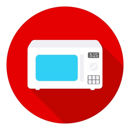 household appliance: Microwave icon in flat style isolated on white background. Household appliance symbol vector illustration.