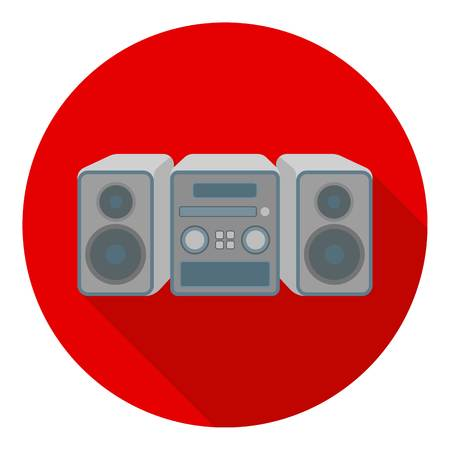 household appliance: Music center icon in flat style isolated on white background. Household appliance symbol vector illustration.