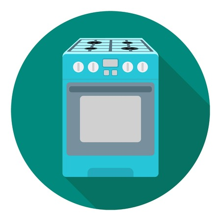 household appliance: Kitchen stove icon in flat style isolated on white background. Household appliance symbol vector illustration.