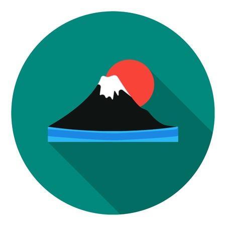 mount fuji: Mount Fuji icon in flat style isolated on white background. Japan symbol vector illustration. Illustration