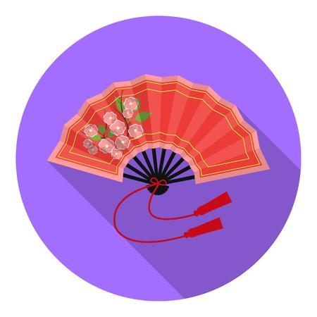 Folding fan icon in flat style isolated on white background. Japan symbol vector illustration. Illustration