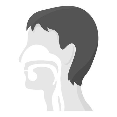 exhale: Respiratory system icon monochrome. Single medicine icon from the big medical, healthcare monochrome.