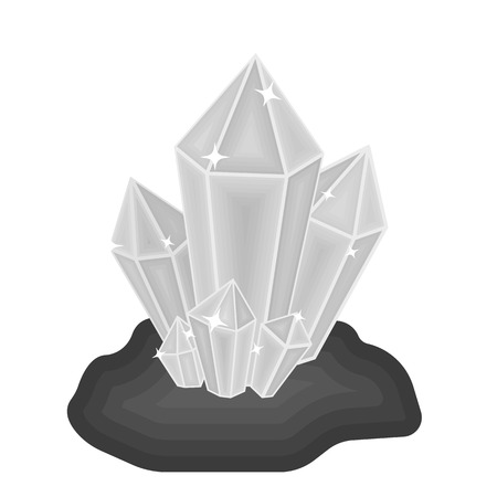 priceless: Crystals icon in monochrome style isolated on white background. Mine symbol vector illustration.