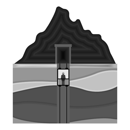 shaft: Mine shaft icon in monochrome style isolated on white background. Mine symbol vector illustration.
