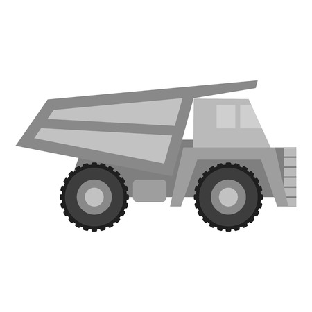 haul: Haul truck icon in monochrome style isolated on white background. Mine symbol vector illustration.