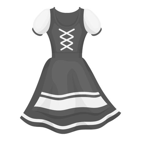 Dirndl icon in monochrome style isolated on white background. Oktoberfest symbol vector illustration.