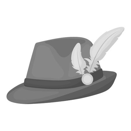 souvenir: Tyrolean hat icon in monochrome style isolated on white background. Oktoberfest symbol vector illustration. Illustration