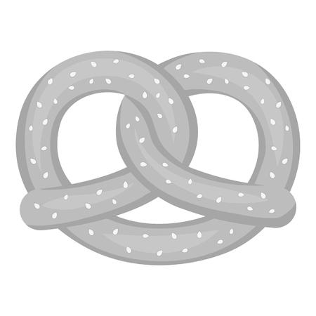 bretzel: Pretzel icon in monochrome style isolated on white background. Oktoberfest symbol vector illustration.