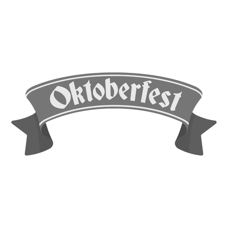 bavarian culture: Oktoberfest banner icon in monochrome style isolated on white background. Oktoberfest symbol vector illustration.