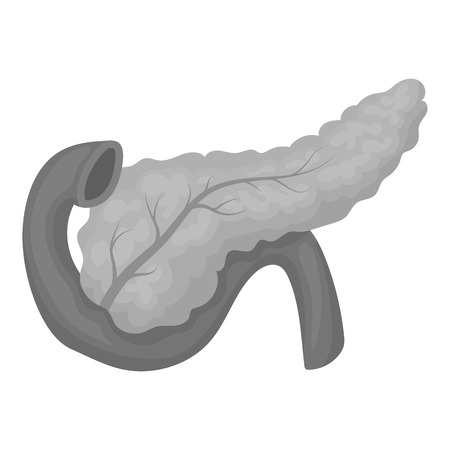 pancreas: Pancreas icon in monochrome style isolated on white background. Organs symbol vector illustration.