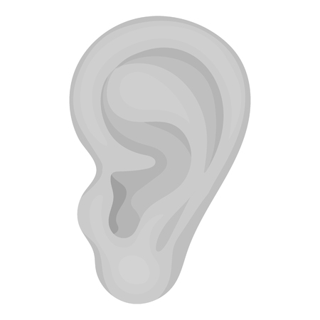 Ear icon in monochrome style isolated on white background. Part of body symbol vector illustration.