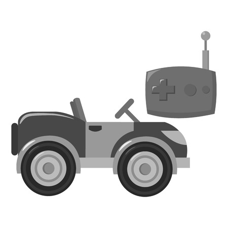 rc: RC car icon in monochrome style isolated on white background. Play garden symbol vector illustration. Illustration