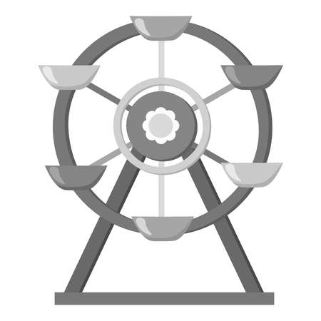 Ferris wheel icon in monochrome style isolated on white background. Play garden symbol vector illustration. Illustration