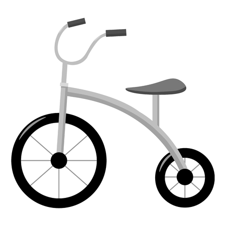 kid drawing: Tricycle icon in monochrome style isolated on white background. Play garden symbol vector illustration.