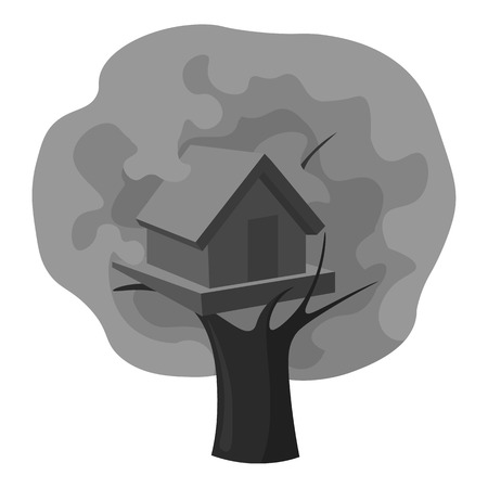 front or back yard: Tree house icon in monochrome style isolated on white background. Play garden symbol vector illustration.