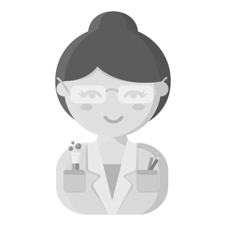 Scientist monochrome icon. Illustration for web and mobile. Illustration