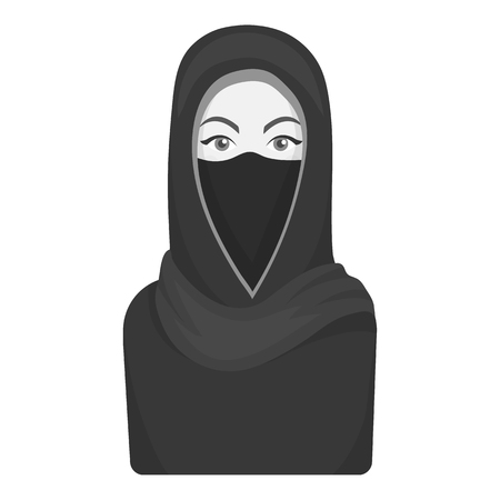 niqab: Niqab icon in monochrome style isolated on white background. Religion symbol vector illustration. Illustration