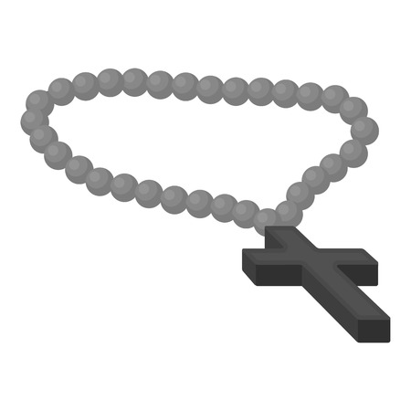 Christian rosary icon in monochrome style isolated on white background. Religion symbol vector illustration. Illustration