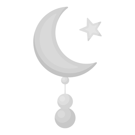 Crescent and Star icon in monochrome style isolated on white background. Religion symbol vector illustration.