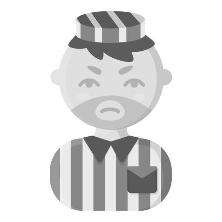 imprisoned person: Prisoner monochrome icon. Illustration for web and mobile.