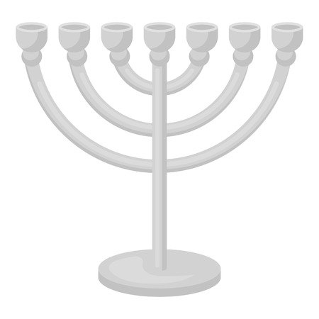 Menorah icon in monochrome style isolated on white background. Religion symbol vector illustration.