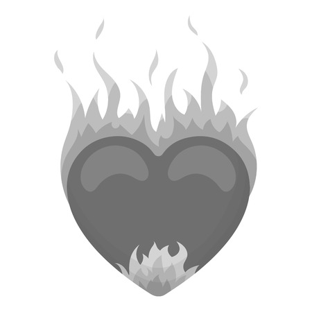 white heart: Heart in flame icon in monochrome style isolated on white background. Romantic symbol vector illustration.