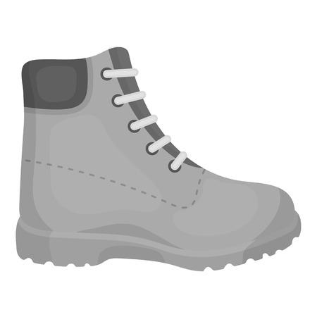 Icono de botas de senderismo en estilo monocromo aislado sobre fondo blanco. Zapatos de símbolo ilustración vectorial.