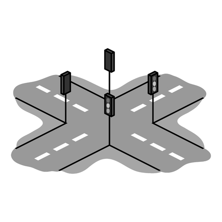 green road: Korean rossroads icon in monochrome style isolated on white background. South Korea symbol vector illustration.